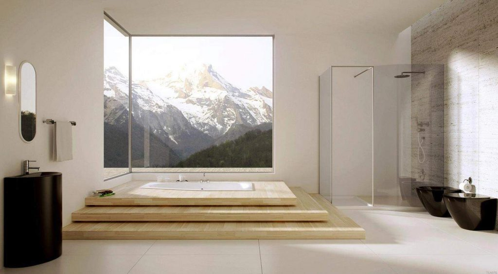 Bathroom Facing Mountains