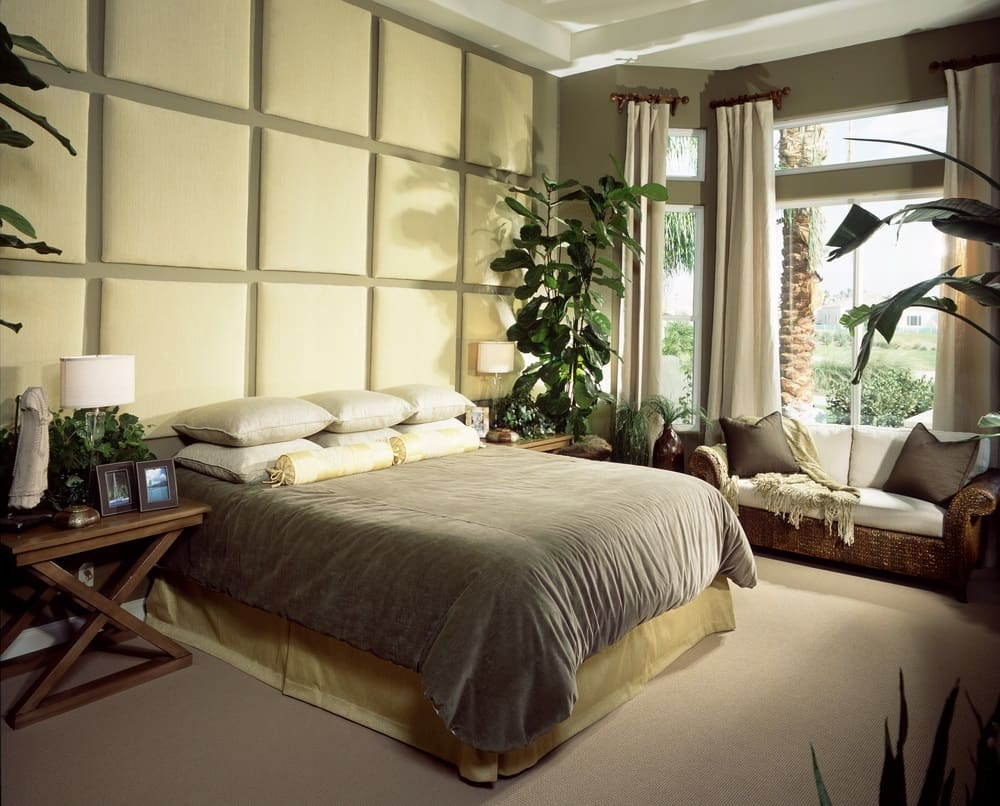 Bedroom with plant and high ceiling