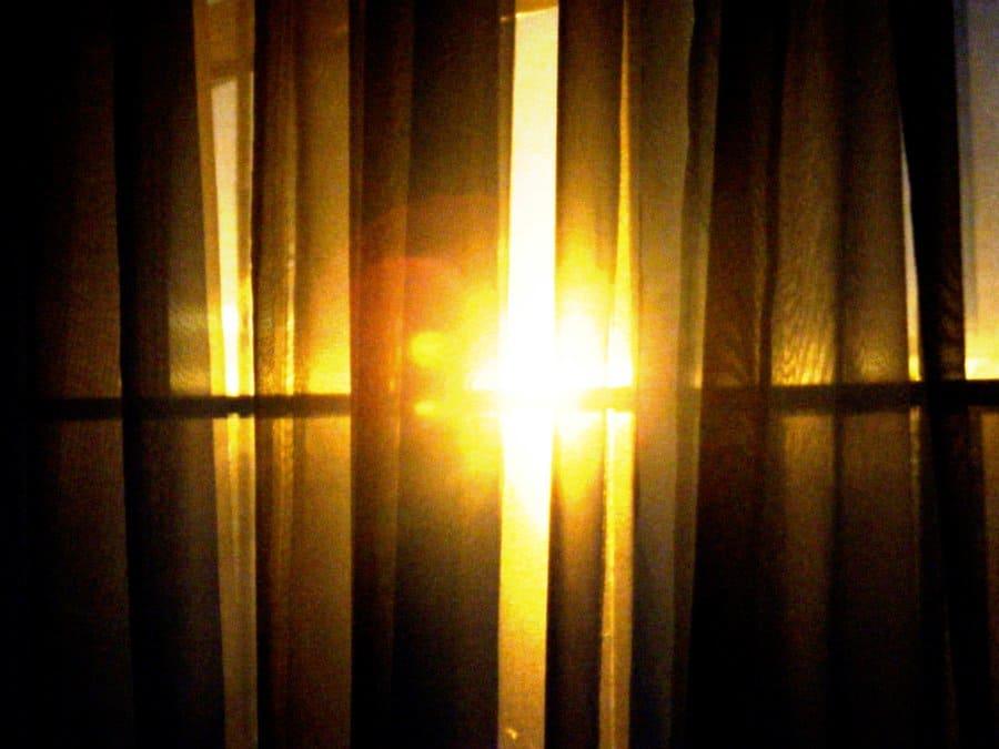 sunrise through the curtains