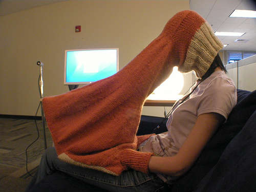 """I hope you never have to use this """"laptop compubody sock"""" that completely eliminates glare on your computer screen."""