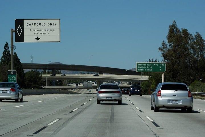 Carpool lane regulations in California, USA.